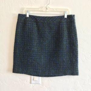 LOFT Navy Blue & Green Tweed Mini Skirt Size 10